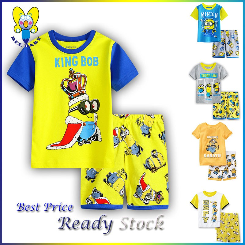 537a356d Kids Sleepwear Children's Clothing Short Sleeve Unisex Minions(one suit) |  Shopee Malaysia
