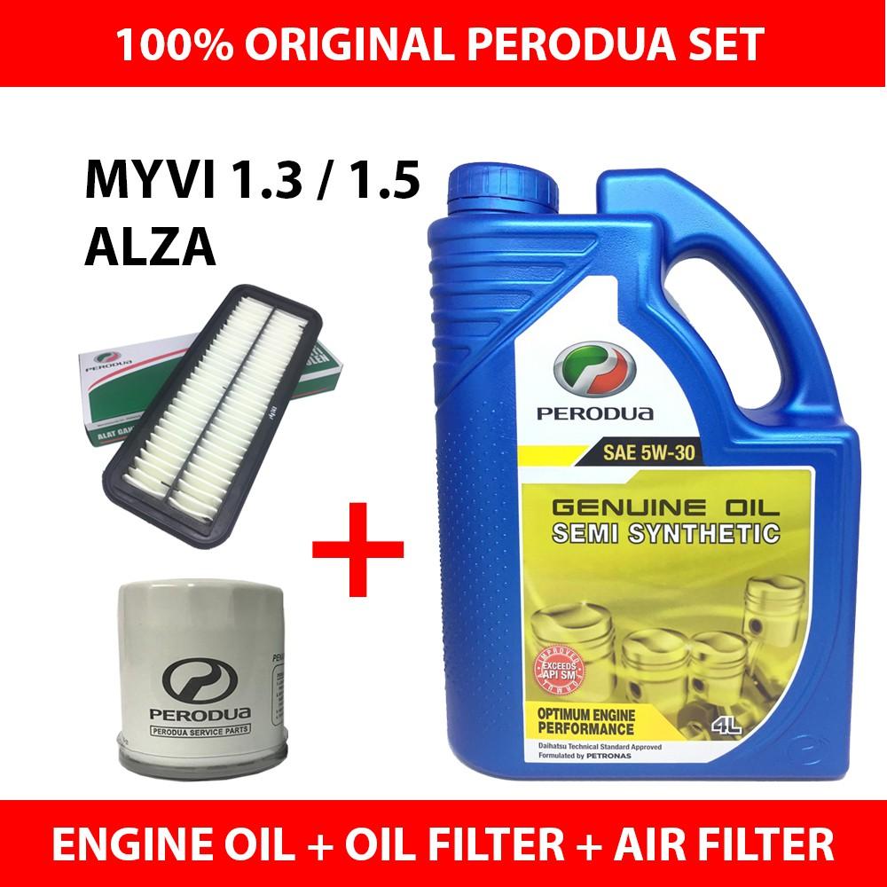 (Original Set) Perodua 5W30 Semi Engine Oil (4L)+Oil