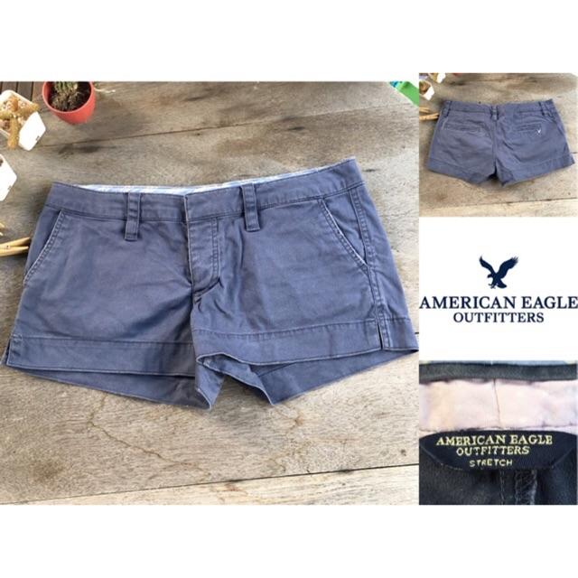 2sis1bro แบรนด์แท้ American Eagle Outfitters Stretch กางเกงขาสั้น สีน้ำเงิน มือสอง พร้อมส่ง
