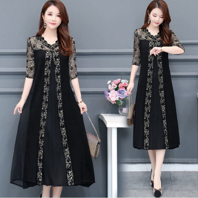Women Skirts Ladies Long Lace Stitching Dress Elegant Party Plus Size Ruffle Casual Round Neck Sleeve Dress Formal Dress