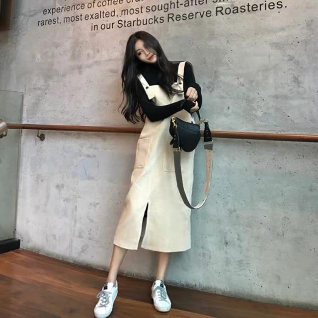 【S/M】Korean Loose mid-length suspender skirt 春秋新款女装韩版宽松显瘦灯芯绒连衣裙女中长款过膝背带裙子