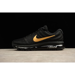 wyprzedaż w sklepie wyprzedażowym sprzedaż usa online ekskluzywne buty Original Nike Air Max 2017 Running Shoes Men's Airmax Sport Sneakers Black  Gold