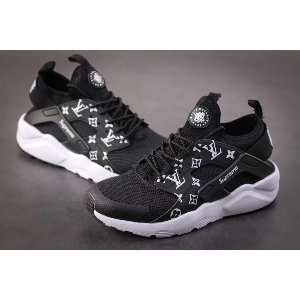 sports shoes ed6ba 005f1 high quality nike air huarache X LV x SUPREME all black for men women  shoes36-45