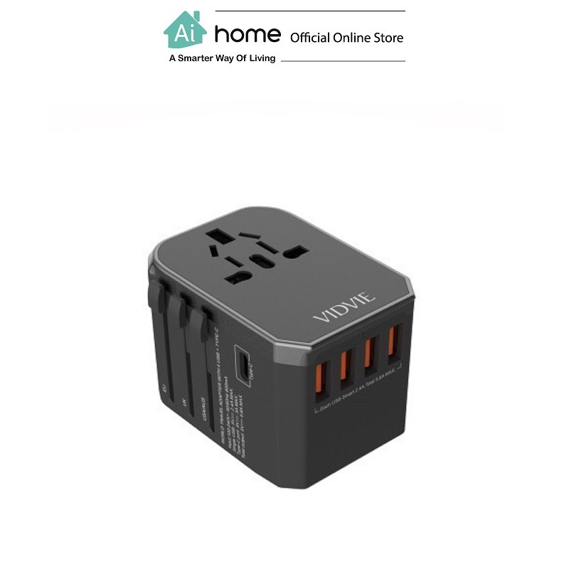 VIDVIE TA4402 4 USB +Type-C World Travel [ Charger Adapter ] with 1 Year Malaysia Warranty [ Ai Home ]