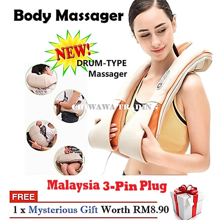 Punch Type Body Massage Waist Back Cervical Vertebra Neck & Shoulder Massager Heat Timing