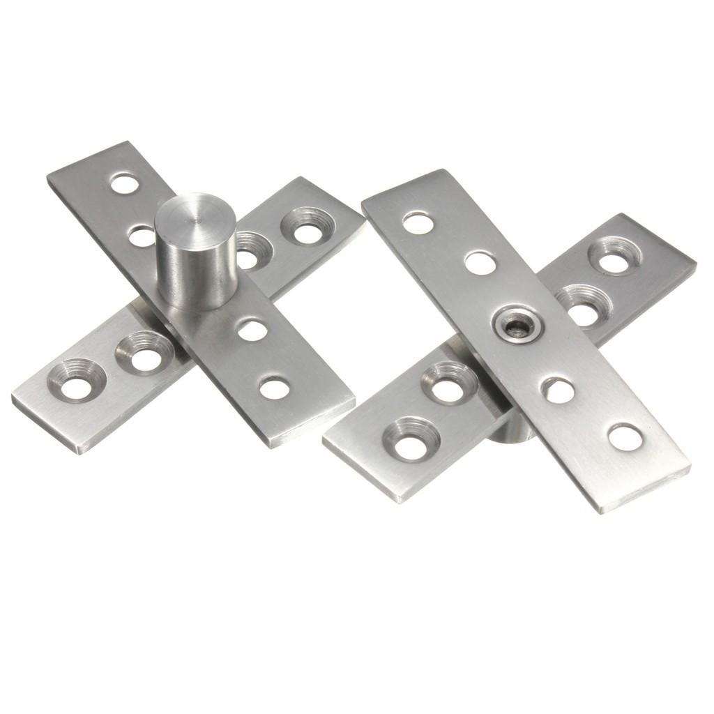 1 Pair 74mm Length 360 Degree Stainless Steel Door Pivot Hinge Hardware Silver