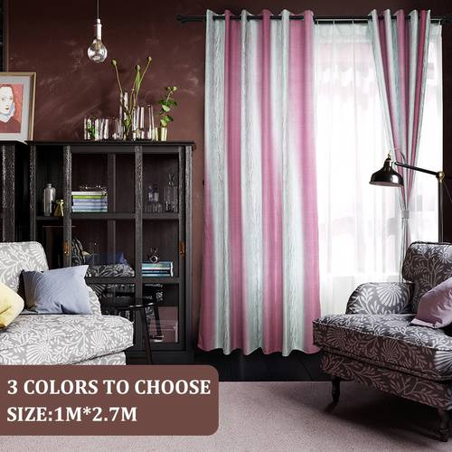 Stripe Shading Window Curtain Drapes Purdah for Home Living Room Ready Made