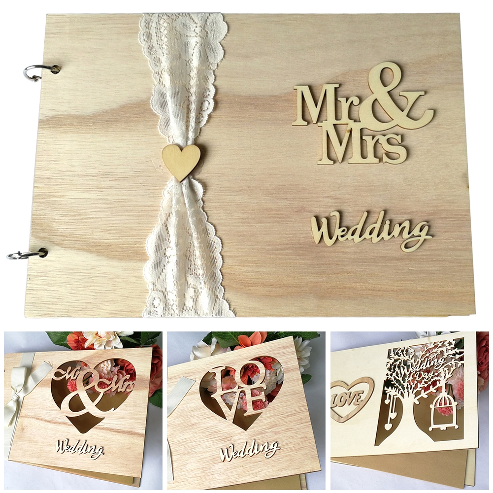 Unique Double Heart Wedding Guest Book Signature Sign with 100 Wooden Hearts Traps Frame Rustic Decor Guestbooks