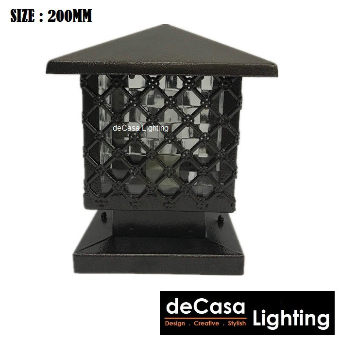 "(SET WITH LED 9W BULB) 200mm/8"" Inch Outdoor Pillar Light Decasa Lighting Best Seller Outdoor Gate Light (G913)"