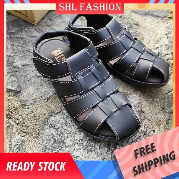 SHL Men Leather Casual Beach Sandal Selipar Kasut Lelaki size 5-10【男士凉鞋】-2501