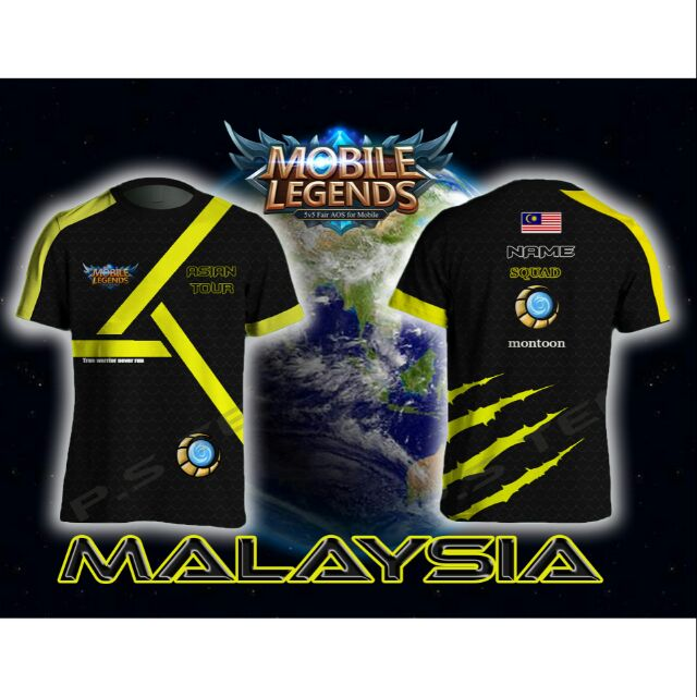 Mobile Legends Jersi Grafik T Shirt Malaysia Team Short Sleeve Round