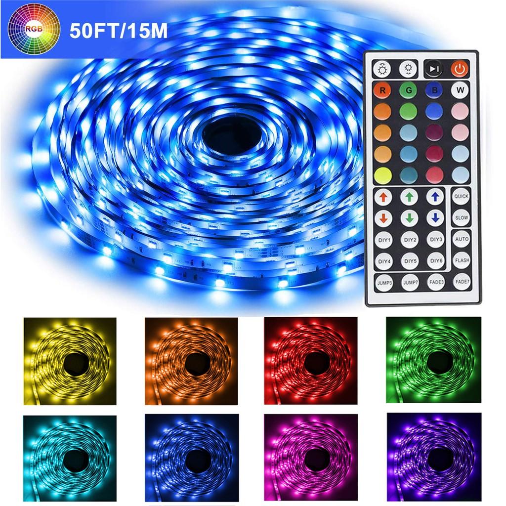 Led Strip Lights 50 Ft 15m Long Color Change 5050 Smd Rgb Flexible Led Tape Lights Lighting With Remote 44 Key Ir Dc 24v Power Supply For Bedroom Ceiling Under Cabinet Bar Diy