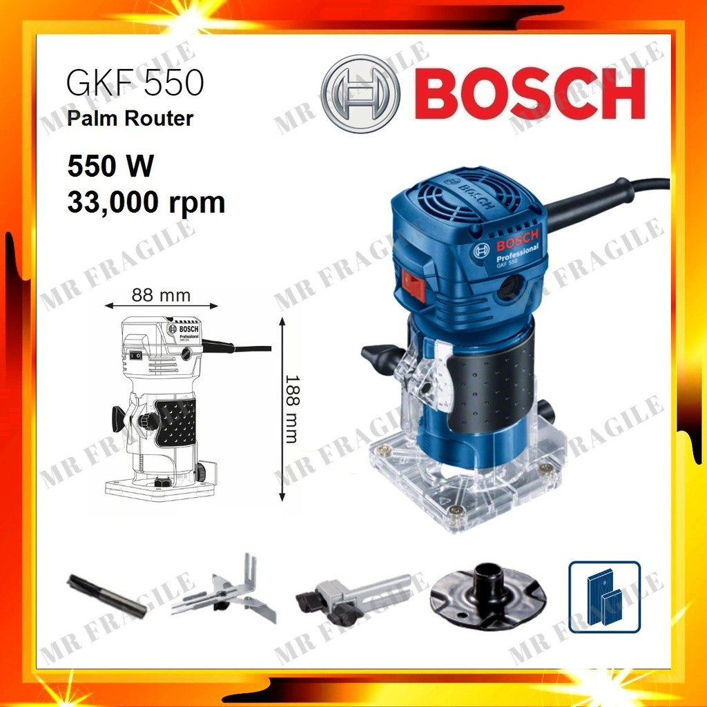 BOSCH GKF 550 PALM ROUTER 550W with Parallel guide GKF550 PALM ROUTER