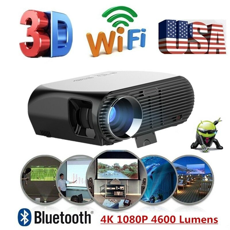 Android 3D Wifi HDTV Home Cinema 1080p LCD Projector 4600 Lumens HDMI VGA RJ45