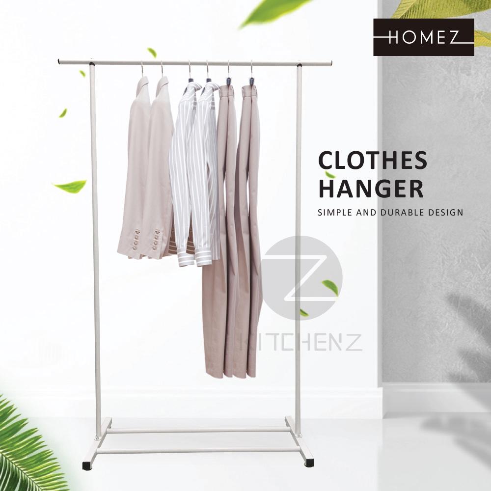 Homez Anti Rust Clothes Hanger Metal Garment Rack with Bottom Shelves Indoor/Outdoor Drying Rack HMZ-CH-SR100-WT