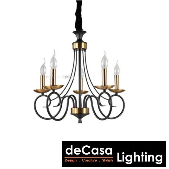 New Design Antique Gold Black Chandelier Modern Ceiling Pendant Fixture Nordic Hang Light Decasa Hanging Light 8952-5