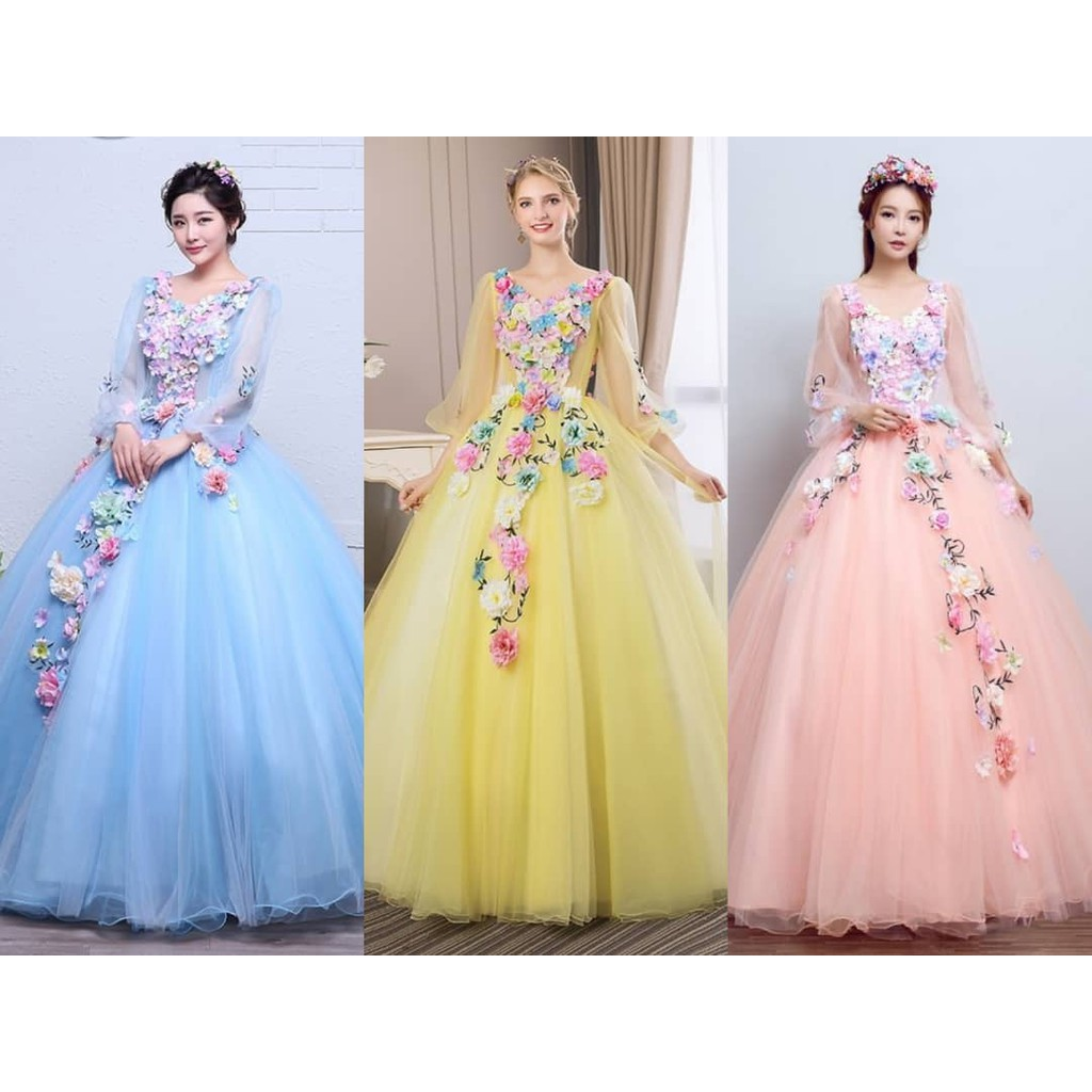 Floral Prom Costume Party Wedding Dress