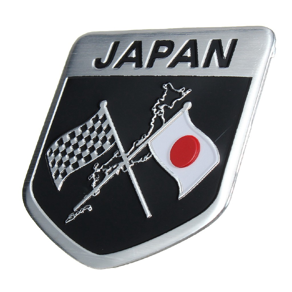 1X Aluminum Plate Japanese Flag Emblem Badge Sticker For Car Front Grille Fender