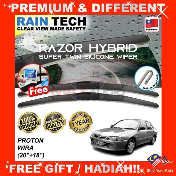 [FREE Gift] PROTON WIRA (20/18) RAIN-TECH RAZOR HYBRID Silicone Aerodynamic Clean Wipe Safety Wiper Blade