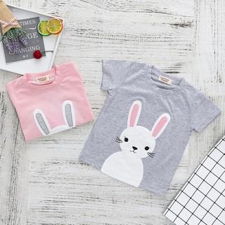 72a283dab4 Baby Girls Boys T shirt Rabbit Bunny Appliqué Short Sleeve Cotton Tee Tops  6M-6T
