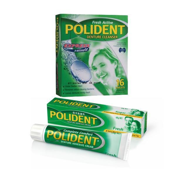 Polident Denture Cleanser 16S + Adhesive Cream 60G