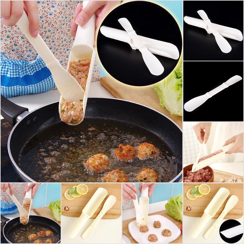 Plastic Kitchen Cooking Tool DIY Fish Ball Burgur Mold Meatball Maker White