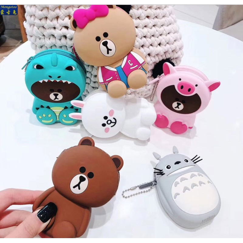 3D Cute Cartoon Animal Bear Silicone Strap Wallet Case Clutch Change Coin Purse