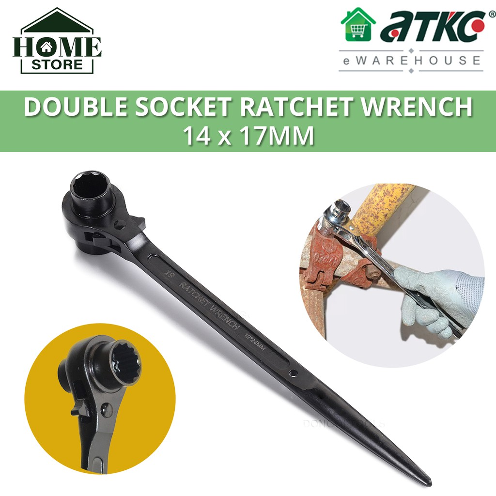 Double Socket Scaffolding Ratchet Wrench Spanner 14x17mm / 17x19mm / 19x21mm / 24x27mm