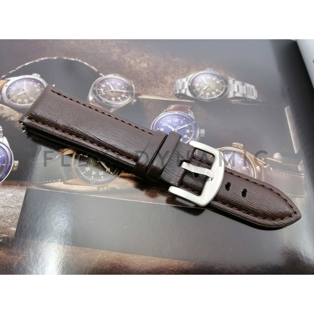(Local Seller) 22mm Genuine Leather strap Watches band stainless steel Pin Buckle Wristwatch Strap