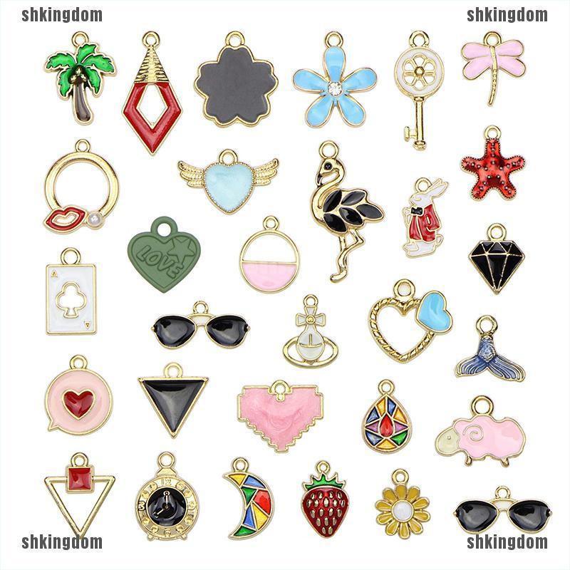 shkingdom 30Pcs/Set Mixed Style Metal Enamel Charms Pendant DIY Jewelry Finding Crafts