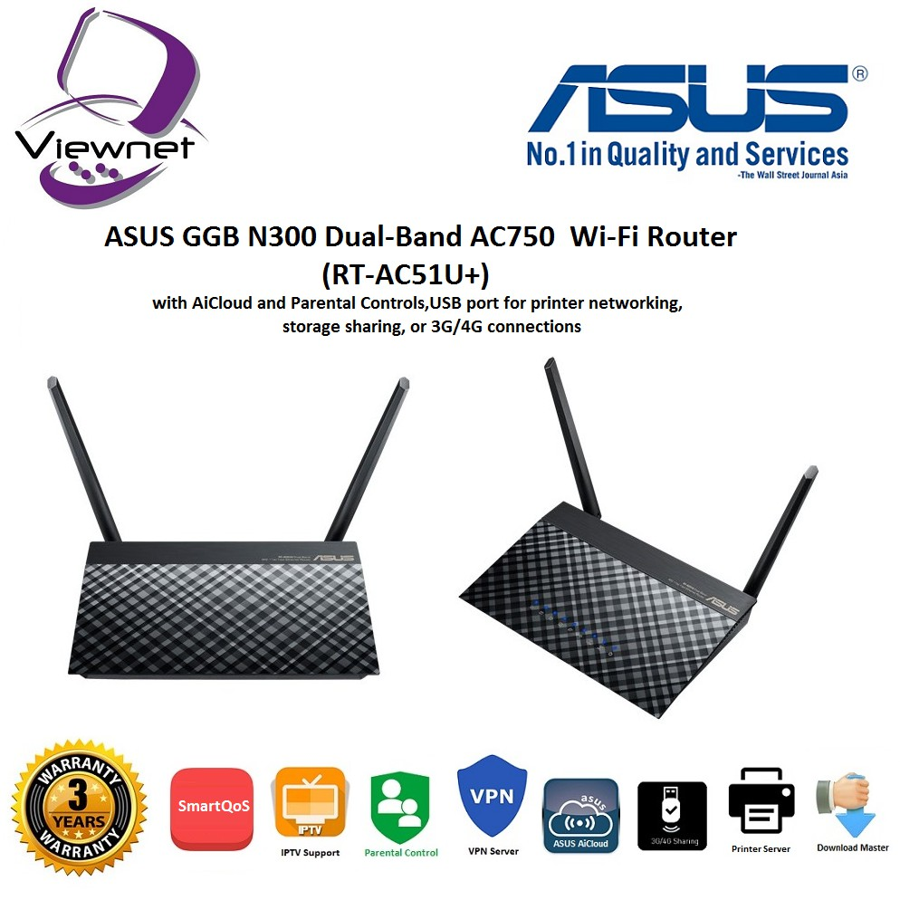 Genuine Asus Rt Ac1200g Ac1200 Dual Band Wifi Router With Four 5dbi Wireless N N12 Plus Antennas Shopee Malaysia