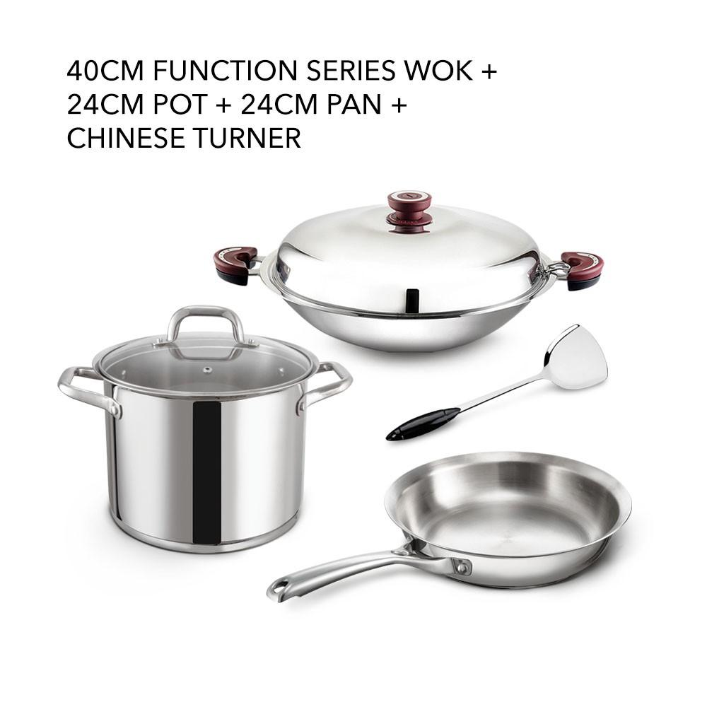 Buffalo 40CM Function Series Wok +24CM Pot + 24CM Pan + Chinese Turner