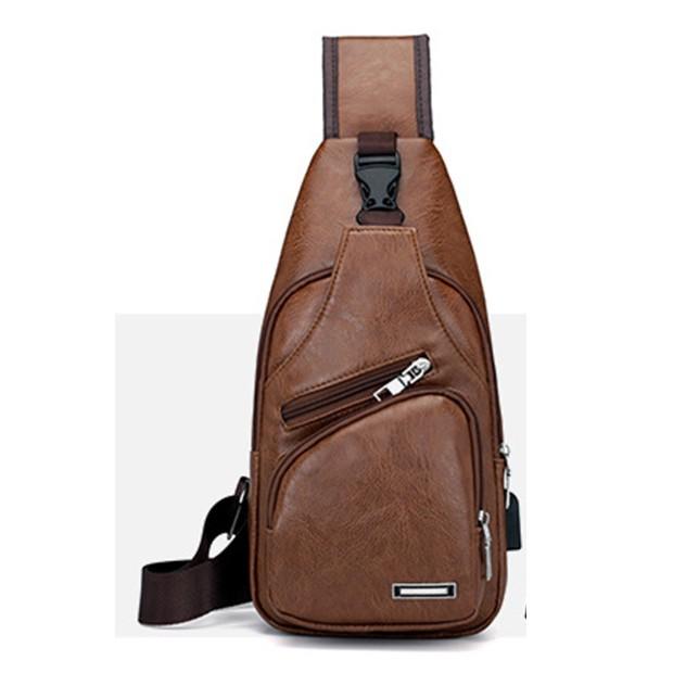 FGE 326 STYLISH PU LEATHER CHEST BAG WITH USB PORT
