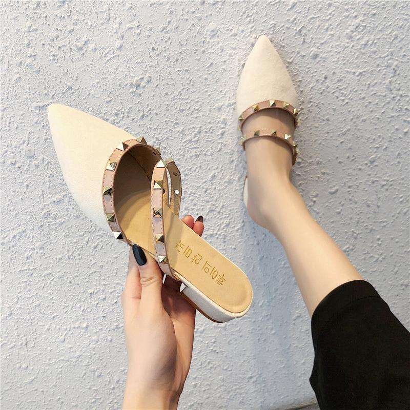 Rivet Flat Plus Size Low-Cut Fluff Pointed Thin Shoes Khaki