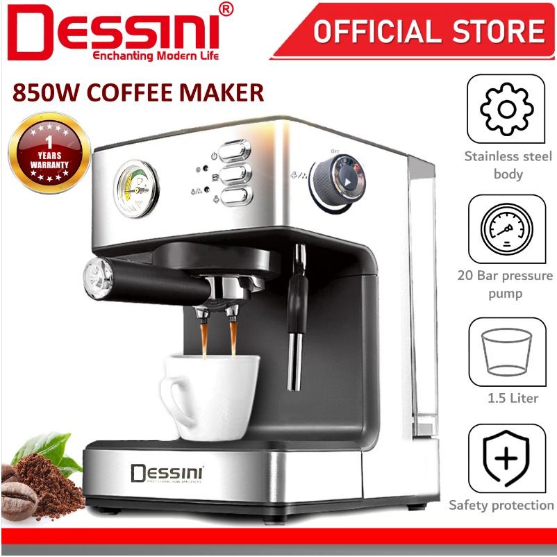 DESSINI ITALY 20 Bar 1.5L Espresso Coffee Maker Brew Froth Cappuccino Latte Machine Milk Frothing Bubble Steamer