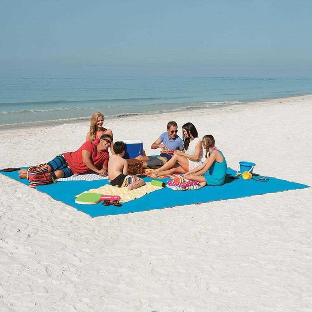 Portable Double-layer Beach Mat Camping Picnic Cushion (blue)