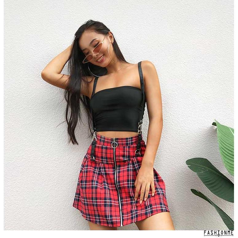 5ba8e840f HYO-Sexy Cool Girl Female Red Black Plaid Strap Skirt Retro Zipper ...