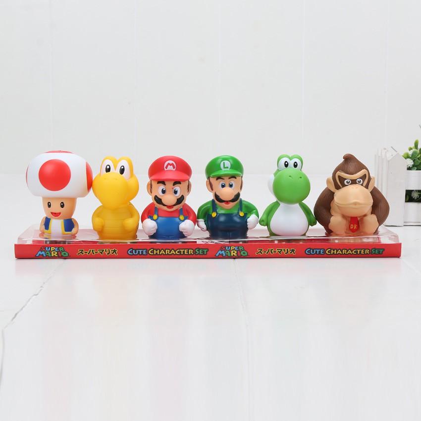 Super Mario 6 pcs Mini Figures New IN Box Mario Luigi Peach Donkey Yoshi Toad