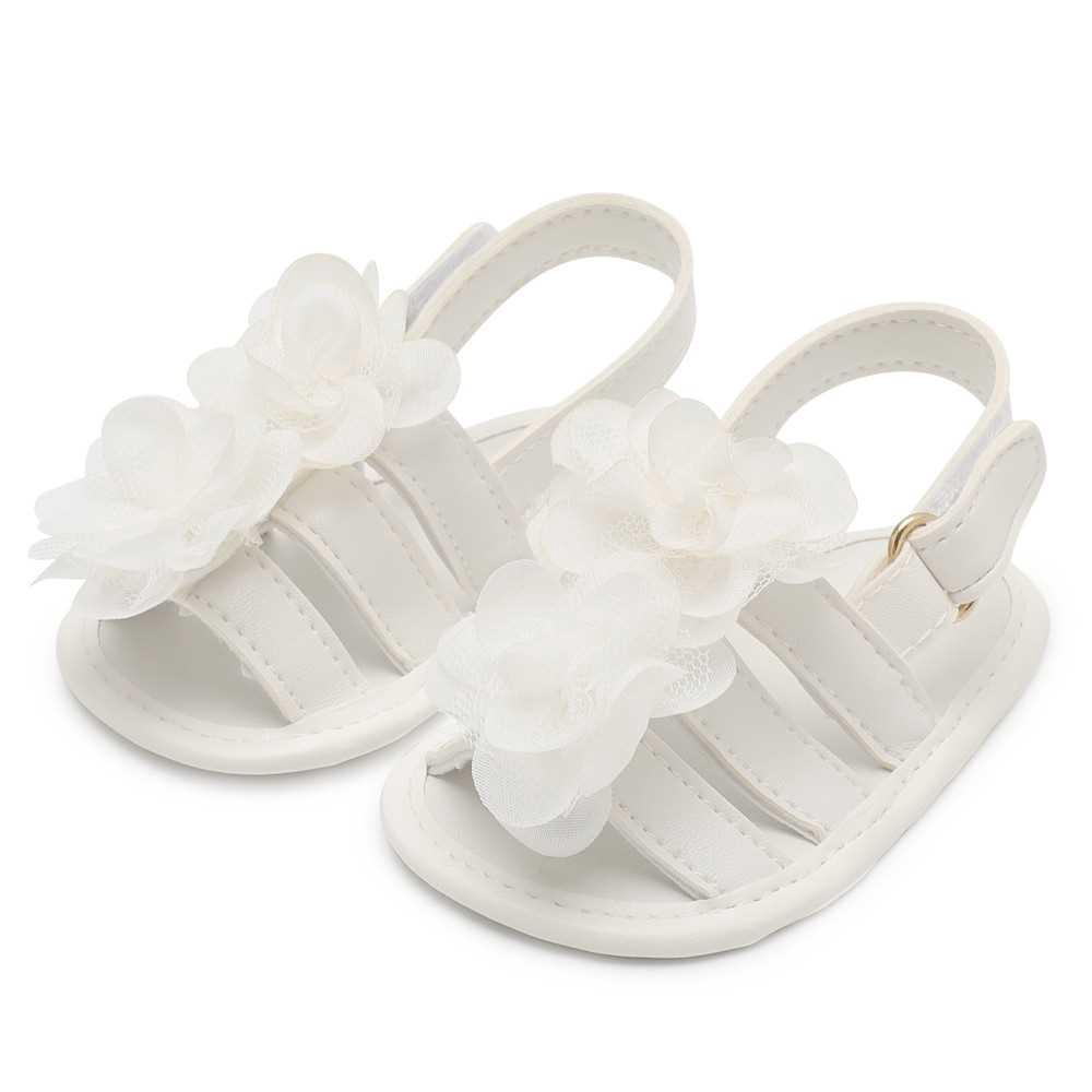 Infant Toddler Baby Shoes Girl Flower Sandals For Summer Soft Sole Non-Slip Prewalker Light Pink U.S Size 4 (White)