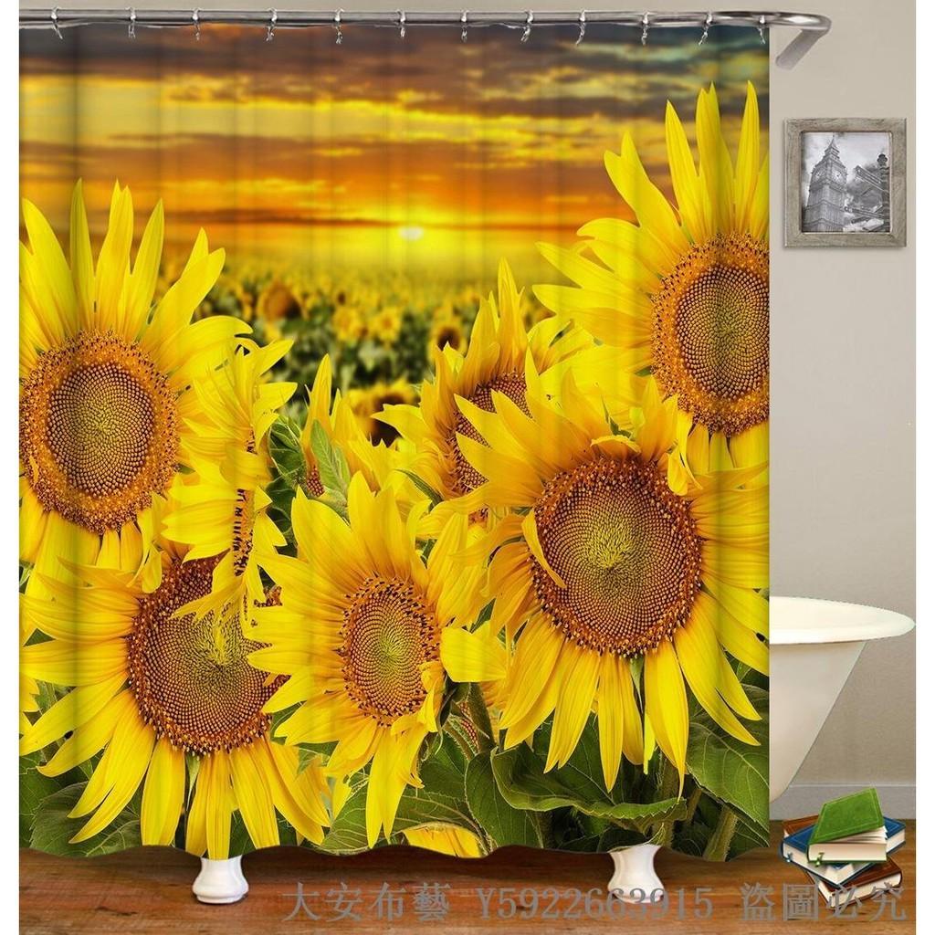 Newcx311 Bathroom 3d Hd Sunflower Garden Waterproof Shower Curtain Thick Pol34