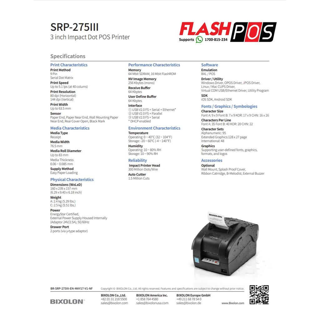 100%Original Bixolon SRP 275 iii Dot Matrix Printer (with