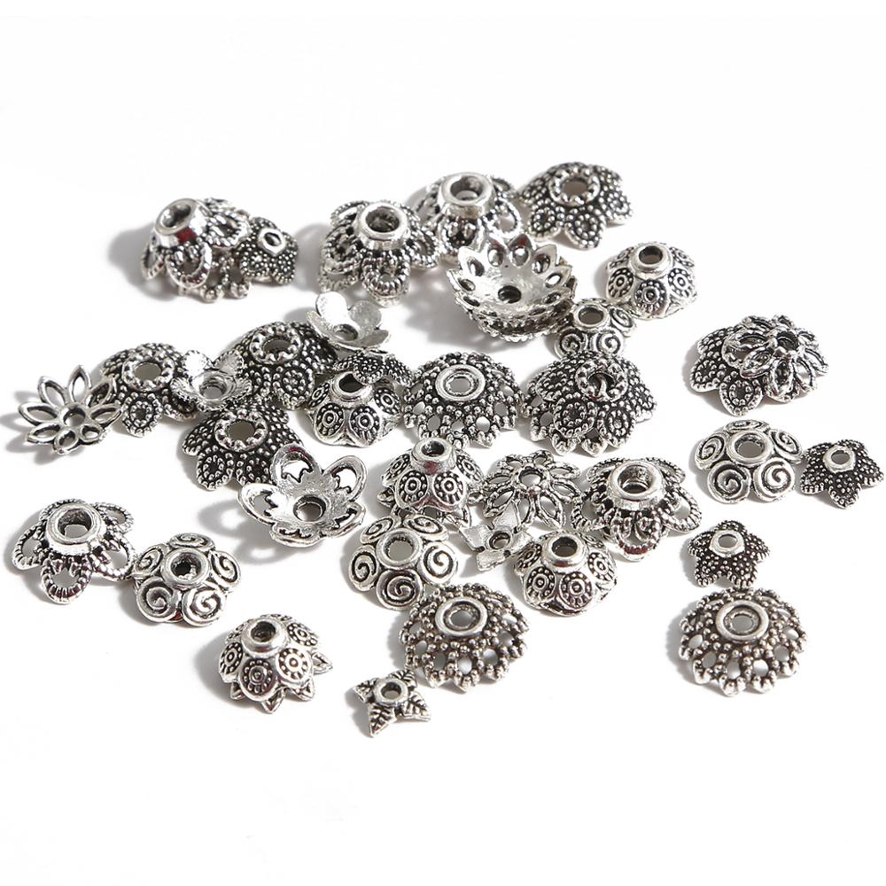 NEW 75 PCS Tibetan Silver Crafts Making Flowers Grow Oval Charms Pendants 20*8mm