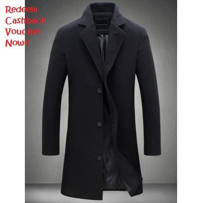 Plus Size Single Breasted Longline Woolen Coat