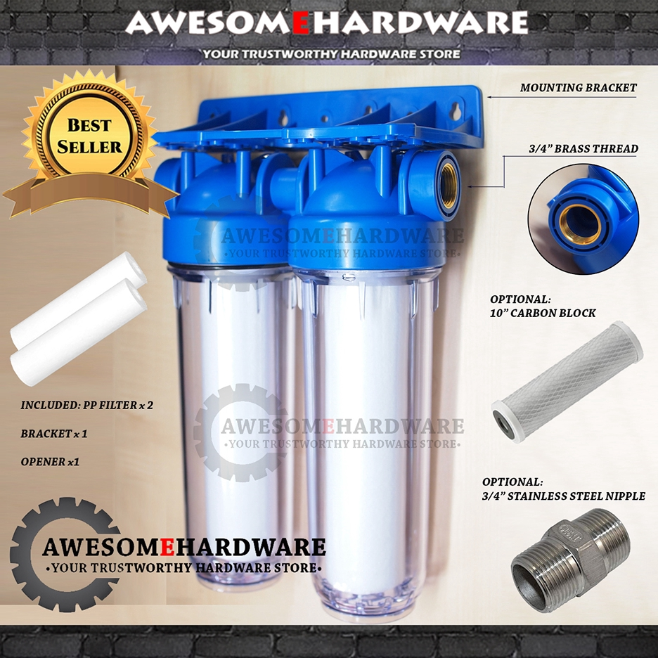 AQUA 10 INCH DOUBLE CTO WATER FILTER TWO STAGE PURIFIER HOUSING SET