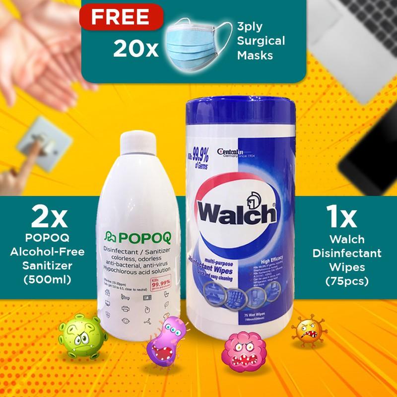 【Korea No.1 Water Base non-alcohol Spray】2x Popoq, Face Cover, Walch Wet Wipes