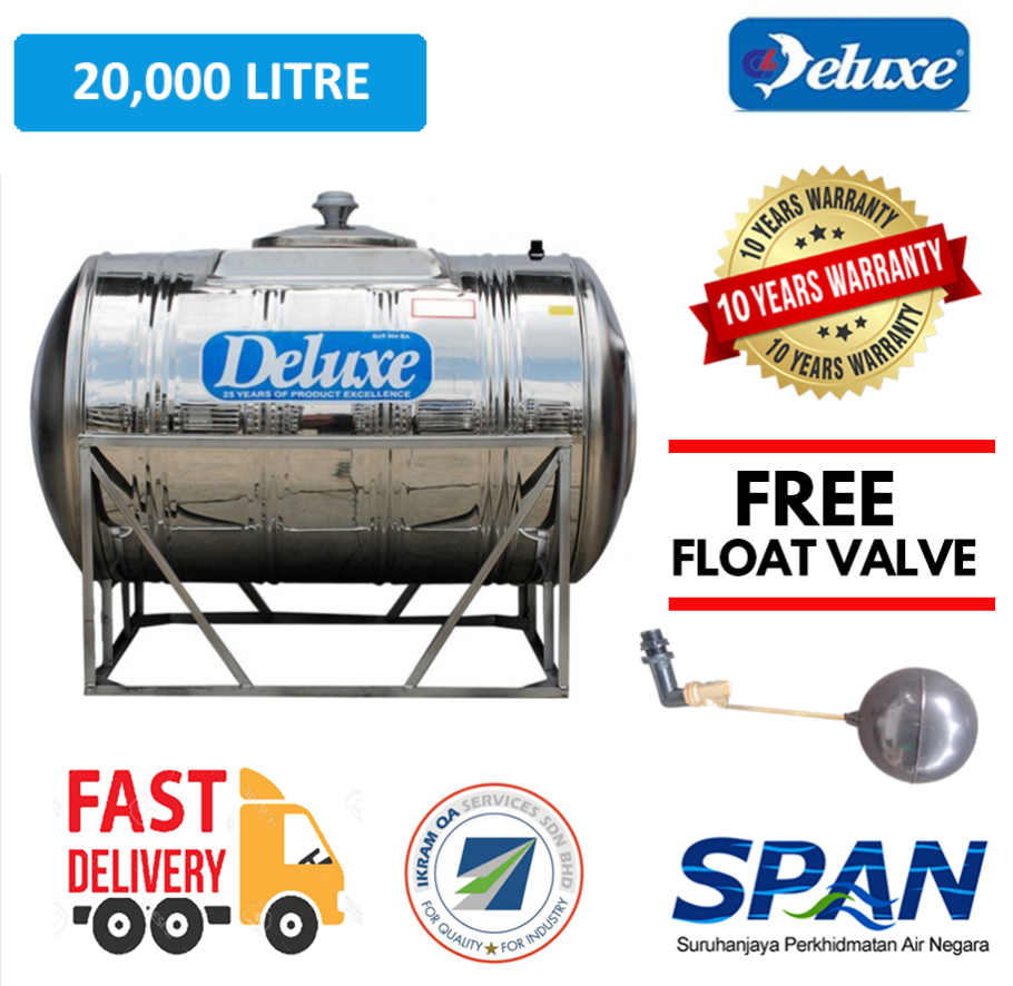 Deluxe Stainless Steel Water Tank Horizontal With Stand (15000-2000 LITRES) Tangki Air Warranty Up To 10 Years