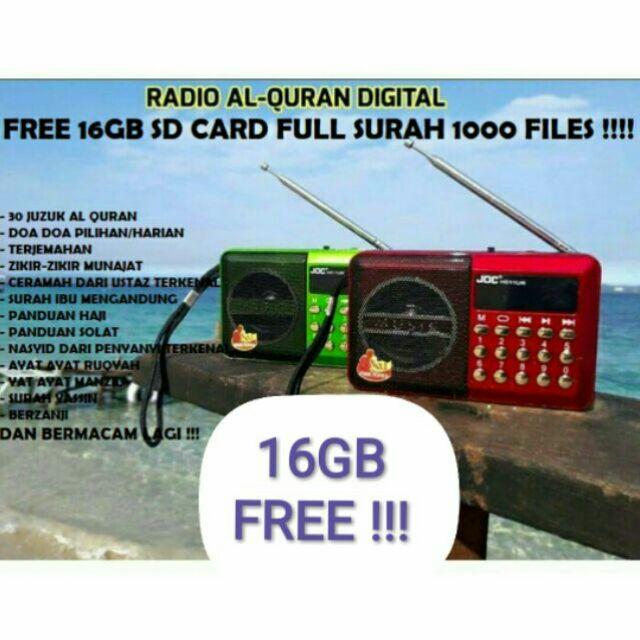 Radio Al-Quran + FREE 16GB/32GB Memory Card Full SURAH K9 A2DP1 2