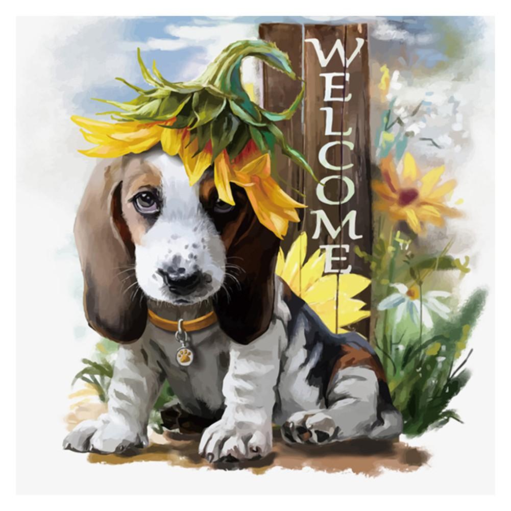 302de6891b6a Aphila 5D Diy Diamond Embroidery Cute Welcome Dog Diamond Painting Cross  Stitch