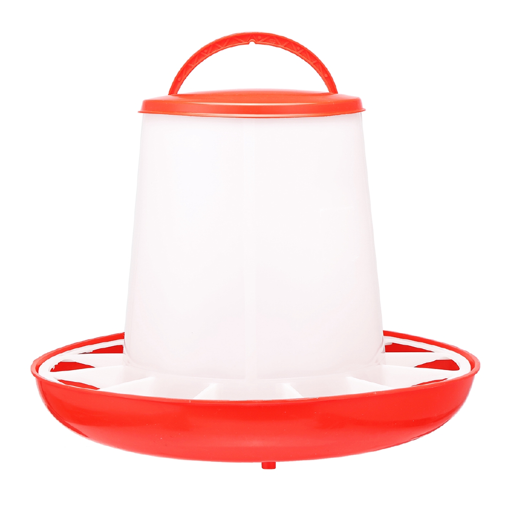 1.5kg Auto Red Plastic Food Feeder Chicken Chick Hen Poultry with Lid /& Handle