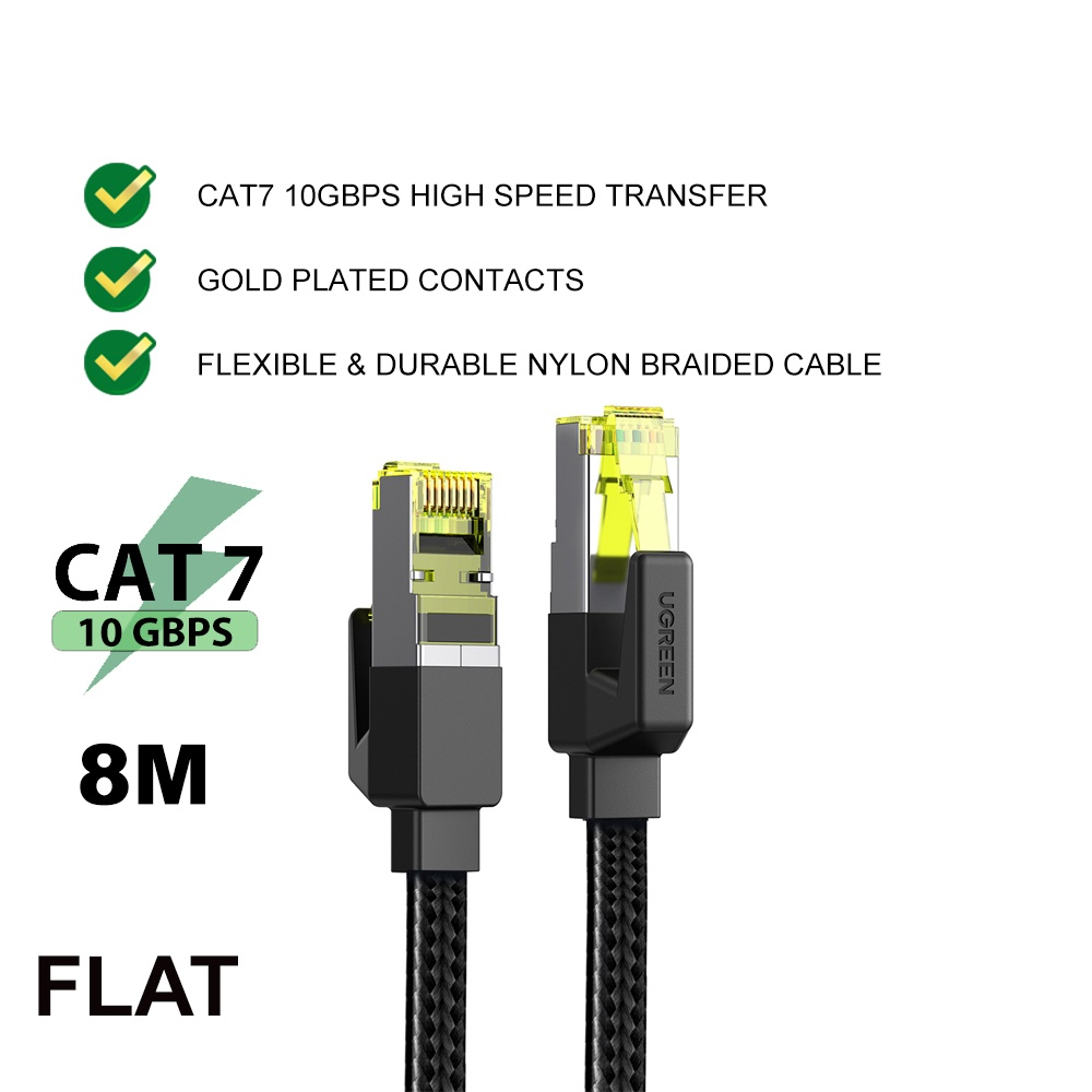 UGREEN Ethernet Cable CAT 7 Strong Nylon Braided Flat Internet Wire Lan cable 10Gbps RJ45 for PS4 Smart TV Xbox 360
